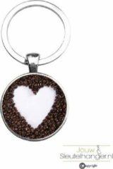 Zilveren MC Living Sleutelhanger Glas - Koffiebonen Hart