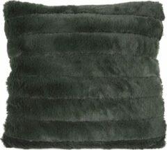 Present Time Sierkussens Cushion Stitched Bars Faux Fur Groen