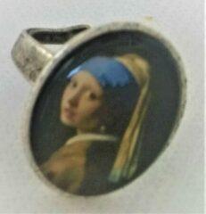 Gele Zeeuws meisje Ring verzilverd met meisje met de parel van Johannes Vermeer, een maat/one size
