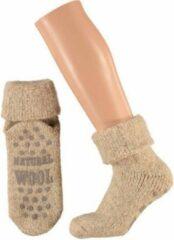 Merkloos / Sans marque Wollen huis sokken voor dames bruin 39-42