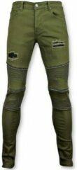True Rise Groene biker skinny jeans heren - Mannen broek- 3017-9 Jeans Slim fit Jeans Maat W32