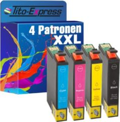 Tito-Express PlatinumSerie PlatinumSerie® 4 Cartridges XL (Black Cyan Magenta Yellow) Compatible voor Epson TE1291-TE1294/ Stylus Office B 42 WD / BX 305 FW / BX 305 F / BX 305 FW Plus / BX 320 FW / BX 525 WD / BX 535 WD / BX 625 FWD / BX 630 FW / BX 635