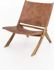 Perfecthomeshop Loungestoel leer bruin 60x65 cm – Cognackleur – Vintage Look