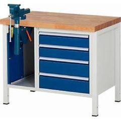 Werkbank Modell 8185, 4 Schubladen, Schrank mit Einschiebetür, inkl. Schraubstock