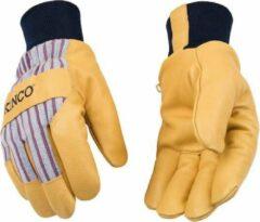 Blauwe Oldschool Wintersport handschoenen | Maat S | Kinco 1927KW | Ski handschoenen | Snowboard handschoenen | Koud weer handschoenen | Leren vintage handschoenen
