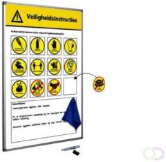 Gele SMIT VISUAL Veiligheidsbord 60x90 cm inclusief accessoires (Nederlandstalig)