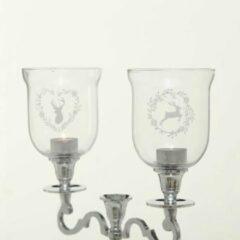 Moortje Windlicht glas - los - Hert - Groot - Ø 11cm - 2 stuks - Hoog 15cm