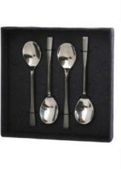 Zilveren Yoshiko Home Yoshiko - Kosai - Lepeltjes 4 pcs - zilver - mat en glanzend roestvrijstaal