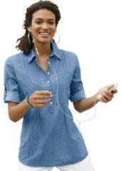 Blauwe Casual Looks blouse met decoratieve biesgarnering