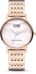 CO88 Collection 8CW-10068 - Stalen horloge - mesh band - roségoudkleurig - Ø 32 mm