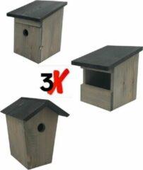 Garden Spirit - 3x Nestkast Vogelhuisje - set van 3 - Hout - Grijs Zwart - Roodborstje Koolmees