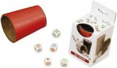 Dal Negro Dobbelbeker Met Pokerdobbelstenen 7 Cm Leer Rood 6-delig