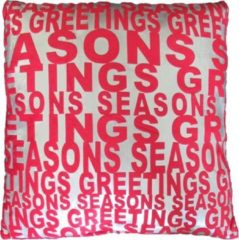 Rode Essenza Seasons Greeting - Sierkussen - 43x43 cm - Silver/Red