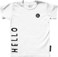 STUDIO BY BO® Baby T-shirt Hello Bye Wit | 100% OEKOTEX gecertificeerd katoen | Maat 68 | Mooi en Luxe verpakt | Maat 56 t/m 98