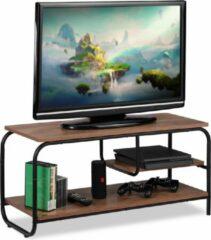 Bruine Relaxdays tv kast - salontafel - tv meubel - houtlook - zwart onderstel - televisietafel