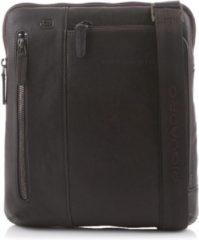 Bruine Piquadro Black Square iPad Shoulder Pocketbook dark brown