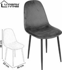 Urban Living - Set van 4 Eetkamerstoelen met Zwart Metalen Onderstel Grijs Fluweel/Velours