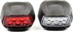 Witte Discountershop Fietsverlichting - LED voorlicht en achterlicht siliconen set van 2 - Fiets verlichting voorlamp en achterlamp verlichtingsset - Fietslampjes kinderen fietsverlichtingsset waterdicht silicon