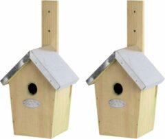 Bruine 2x Houten vogelhuisjes/nestkastjes winterkoning - Tuindecoratie vogelnest nestkast vogelhuisjes - tuindieren