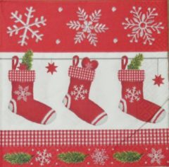 Rode Colourful Life Servetten Red Stocking 33 x 33 cm