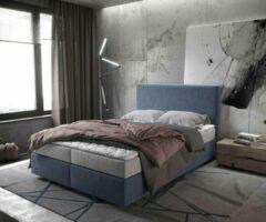 Grijze DELIFE Bed Dream-Well Navyblau 140x200 cm met matras en topper Boxspring-bed