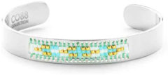 CO88 Collection Serenity 8CB 90129 Stalen Open Bangle met Miyuki Beads - One-size (63x50x10 mm) - Zilverkleurig