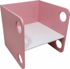 Playwood houten kubus stoel - Peuterstoel - Multiplex - Roze met witte zitting