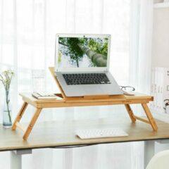 SONGMICS laptoptafel, opvouwbare en in hoogte verstelbare notebooktafel, met ventilatiegaten, voor links- en rechtshandigen, bedtafel van bamboe met lade, 72 x (21-29) x 35 cm (B x H x D) LLD004