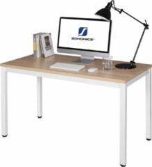Beige Vasagle Bureau Eikenhout - Computer Tafel Wit - 120 x 76 x 60 - Kantoortafel