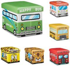 Gele Relaxdays opvouwbare poef, kinderkamer, speelgoedkist, kruk, zitbank kinderen Animal Bus