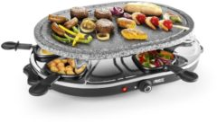 Zwarte Princess Raclette 8 Oval Stone Grill Party gourmetstel 162720