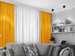 Home of Curtains LEMONI - Gordijn - Met Plooiband - Verduisterend - Kant en Klaar - 300x260 cm - Oker Geel - 1 Stuk