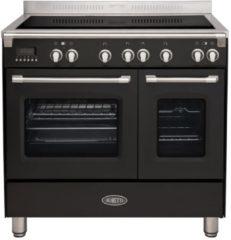 Zwarte Boretti CFBI902ZW inductiefornuis met 4 inductiezones en 2 ovens