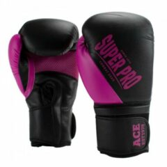 Super Pro Combat Gear ACE (kick)bokshandschoenen Zwart-Roze - 6 oz