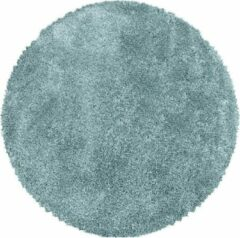 Adana Carpets Rond hoogpolig vloerkleed - Fuzzy Lichtblauw Ø 160cm