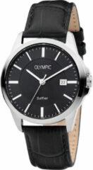 Olympic OL26HSL067 Bari Horloge Leer Zwart 39mm Heren