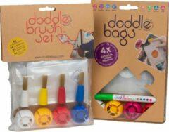 DoddleBags Box - DoddleBag knijpzakjes 200 ml + DoddleBrush kwasten