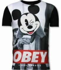 Zwarte T-shirt Korte Mouw Local Fanatic Obey Mouse - Digital Rhinestone T-shirt