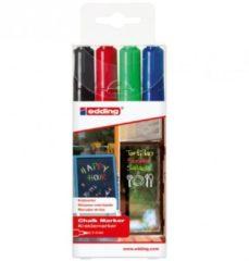 Rode Edding 4095 krijtmarkers 2-3 mm. Set van 4 stuks assorti - krijtmarkers - raamstift - raamstiften - chalkmarker – krijtstift – glasstift – schoolbordstift – krijtbordstift – stoepbordstift