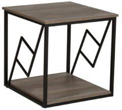 Beliani Forres Bijzettafel Donker houtkleur Verlijmd hout, Verlijmd hout, Metaal 56x56x56