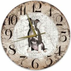 Bruine Creatief Art Houten Klok - 30cm - Hond - American staffordshire terriër