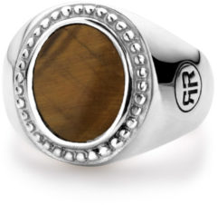 Rebel & Rose Rebel and Rose RR-RG017-S Ring Women Oval Tiger Eye zilver-bruin Maat 46
