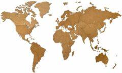 Bruine MiMi Innovations - Luxe Houten Wereldkaart - Muurdecoratie – World Map voor aan de Muur - 130 x 78 cm – Bruin
