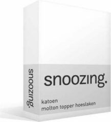 Snoozing katoen topper molton hoeslaken - 100% katoen - 2-persoons (140x220 cm) - Wit