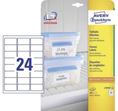 Avery-Zweckform Tiefkühl-Etiketten L7970-25 ( 63.5 x 33.9 mm ),Wit, 600 stuks, Permanent