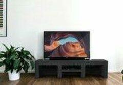 Zwarte Betonlook TV-Meubel open vakken met legplank | Black steel | 200x40x40 cm (LxBxH) | Betonlook Fabriek | Beton ciré