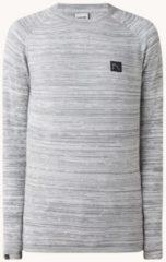 Grijze CHASIN' Eddy fijngebreide pullover in mêlée met logo