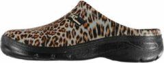 Xq Footwear Tuinklomp Panter Dames Rubber Beige/zwart Maat 38