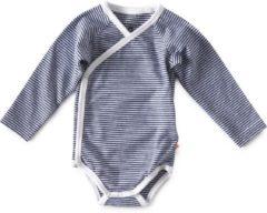 Donkerblauwe Little Label - baby - overslag-romper - wit, blauw streep - maat 68 - bio-katoen