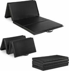 Relaxdays gymnastiekmat opvouwbaar - 180x80 cm - fitnessmat - trainingsmat - sportmat zwart